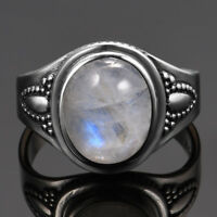 925 Silver Natural Oval Moonstone Wedding Engagement Women Ring Wholesale 6-10