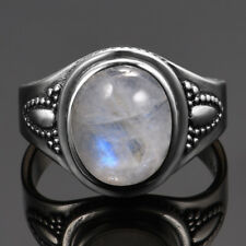 Vintage 925 Silver Natural Oval Cut Rainbow Moonstone Wedding Engagement Rings 6