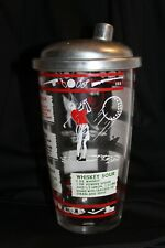 Vintage Sports Cocktail Shaker w/ 8 Drink labels 7 inches high Depression Glass