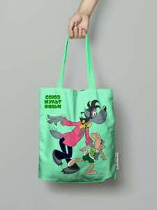 Nu Pogodi Shopping Bag, Soyuzmultfilm USSR Cartoon Series Cotton Green/Blue Tote