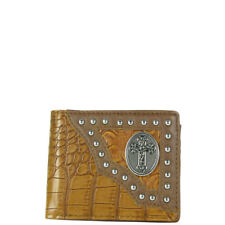 BROWN STUDDED CROCODILE CROSS MENS WALLET COUNTRY WESTERN SHORT BIFOLD WALLET