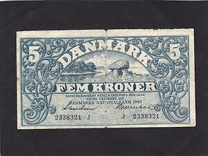 Denmark 5 Kroner 1942 P-30h  VG