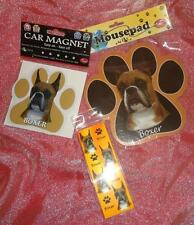Boxer Cropped Dog Breed Paw Print Shaped Mousepad Car Magnet + 3D Bookmark