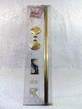 "Bright Brass Drapery Pole Set With Shell Finials 38""- 66"" Width 1 3/8"" Dia Nib!"