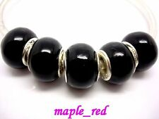 20pcs Pure Black Lampwork Glass Charms Beads Fit European Bracelet