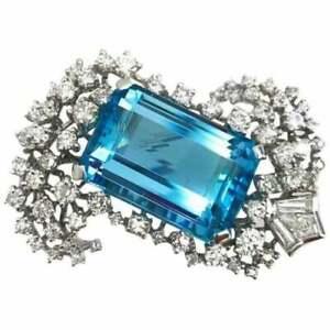Emerald-cut Aquamarine Brooch 14k White Gold Plated Highend Wedding Fine Jewelry