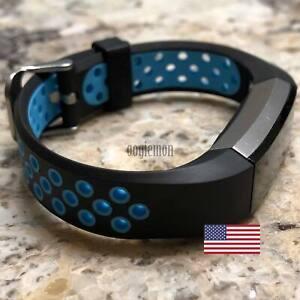 Soft Breathable Silicone Sport Wrist Band Fitbit Alta Fitbit Alta HR BLACK- BLUE
