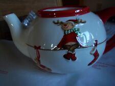 CHRISTMAS TEA POT FROM VERANO IRELAND REINDEER ON FIREPLACE BNIB REF 4110