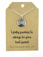 """""""I Pinky Promise to Always Be Your Best Friend"""" Message Card Gift Necklace New"""