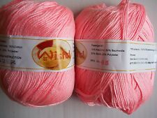 Wisful 6-ply silky baby yarn, Pink (#5), lot of 2 (216 yds each)