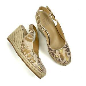 NEW Naturalizer Women Size 7M Pearl Leopard Printed Espasdrilles Slingback Gold