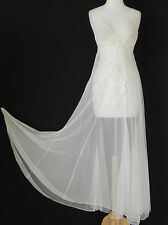 Ivory Lace Intimate Night Gown Full Length Built-in Bra Swing/Flared Size S/M
