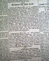 Early 19th Century HARTFORD CT Connecticut War of 1812 Lake Erie 1814 Newspaper