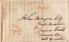"""Stampless FLS twice-used, turned, """"FREE"""" Postmasters, Lockport-Seneca Falls 1837"""