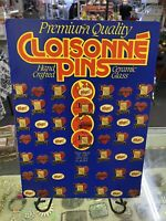 Vintage Cloisonne' Pin Ceramic Glass Store Display With 48 Bingo Pins, Complete