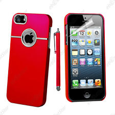 Housse Coque Rigide Silver-Line chromé Rouge Apple iPhone SE 5S 5 + Stylet