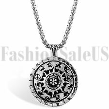 Vintage Mens Boys Stainless Steel Constellation Zodiac Compass Pendant Necklace