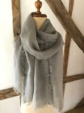 LINEN SCARF /WRAP WITH FRAYED EDGE IN BEIGE/TAUPE . WEDDING ACCESSORY