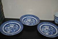 S/3 CHURCHILL Blue Willow 2 SALAD Plate 1 Soup Bowl England  Old Mark Lion 8""