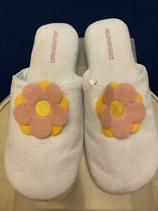 PETER ALEXANDER Slippers Sky Blue Size L with Pink & Orange Flower In Middle