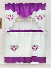DAISY DREAM. 3pcs EMBROIDERY double valance kitchen curtain set. LAVENDER color