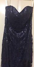 SEQUINS BOOBTUBE FORMAL DRESS SIZE 12 NAVY BLUE