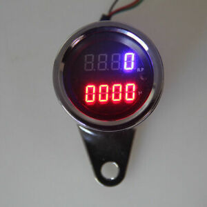 Motorcycle Digital LED Meter Tachometer RPM Illuminated Gauge Clock Dirtbike