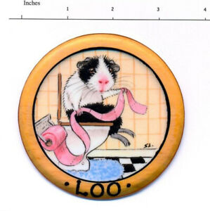 Guinea Pig art sign Loo toilet laminated from original painting Suzanne Le Good