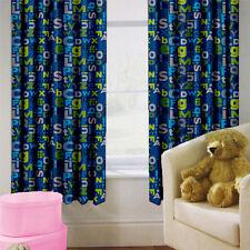 """Alphabet Children's Kids Curtains 66"""" by 54"""" + Tiebacks Nursery Bedding Blinds"""