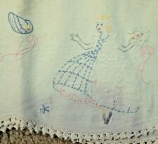 Pair Standard Vintage Pillow Cases Embroidered Crochet Belle Girl in Gown