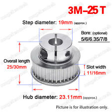 3M25T Timing Belt Pulley 5/6/6.35/8mm Clamp Bore 3mm Pitch for 10/15mm Wide Belt