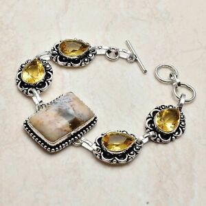 Dendrite Opal Citrine Ethnic Handmade Bracelet Jewelry 24 Gms AB 95550
