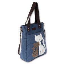 b7cddb0a5056b Handtasche Canvas blau Damen Henkeltasche Katzen Shopper Tasche OTK217B