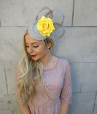 Grey Yellow Flower Pillbox Hat Hair Fascinator Clip Races Wedding Floral 7155