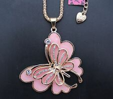B65F # Betsey Johnson new beautiful pink enamel butterfly fashion necklace