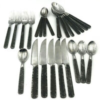 Hammered Forged Wrought Iron 25 Pieces Stainless Steel Flatware Spoon Fork Knife
