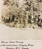 Postcard 1955, Indian Carvings Capilano Bridge, Totem B.C. Canada Vintage C02