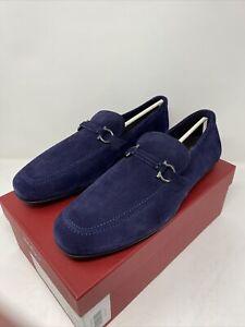 Salvatore Ferragamo Sander Size 13 EE Horsebit Navy Logo Suede Loafers