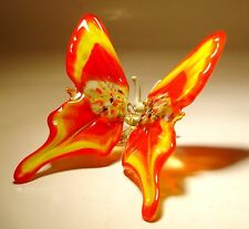 "Blown Glass Figurine ""Murano"" Art Red and Yellow BUTTERFLY"