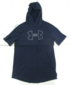 Under Armour Heatgear Men's Hooded Sweatshirt, New Navy Sport Training Top Sz L