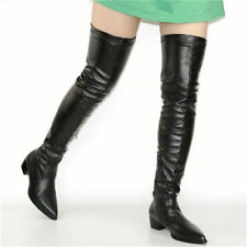 US 5 Women Fleece Fur Winter Stretchy Thigh High Boots Over the Knee Pointed Toe