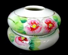 """JAPANESE PORCELAIN RED & YELLOW FLOWERS 2 1/2"""" HAIR RECEIVER AND LID 1920'S-30'S"""