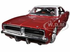 1969 DODGE CHARGER R/T BURGUNDY/WHITE 1/25 DIECAST CAR MODEL BY MAISTO 31091