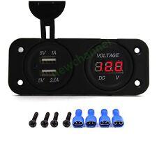 12V Dual 2 Port USB Charger Voltmeter Mount Panel Car Motorcycle Boat Marine US