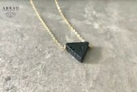 Geometric Triangle Lava Stone Gold or Sterling Silver Oil Diffuser Necklace