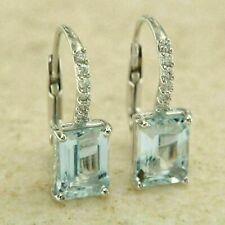 14k White Gold Over 4.00 Ct Emerald Cut Aquamarine Drop Dangle Earrings