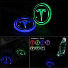 2x New LED Light Car Cup Holder Pad Coaster Fit for Tesla Atmosphere Lights