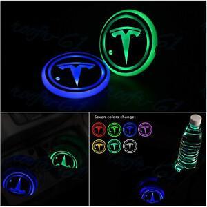 2x New LED Light Car Cup Holder Pad Coaster Fit for Tesla Atmosphere Lights