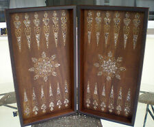 Manopoulos Mother Of Pearl Traditional Backgammon - Inlaid Bronze - Solid Walnut