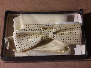 Christian Dior Monsieur Vintage Silk Yellow Blue Dot Bow Tie Handkerchief Set UK